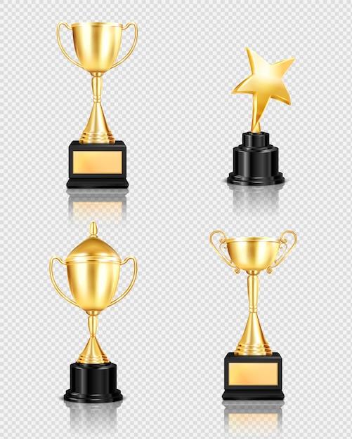 Trofee award realistische set op transparante achtergrond met geïsoleerde afbeeldingen van gouden bekers van verschillende vorm Gratis Vector