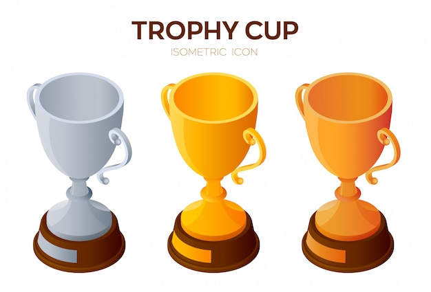Trofee cup pictogram. gouden, zilveren en bronzen award, winnaar of kampioen bekers 3d isometrische pictogram. Premium Vector