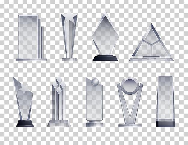Trofeeën transparant realistische set met winnaar symbolen geïsoleerd Gratis Vector