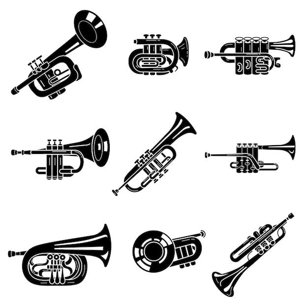 Trompet pictogrammen instellen, eenvoudige stijl Premium Vector