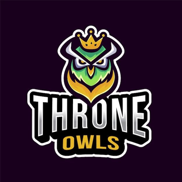 Troonuilen esport-logo Premium Vector