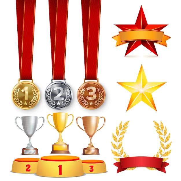 Trophy awards set illustratie Premium Vector