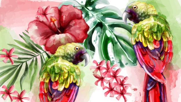 Tropic kaart aquarel Premium Vector
