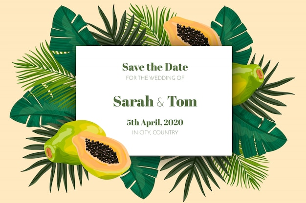 Tropical bewaar de datumkaart Gratis Vector
