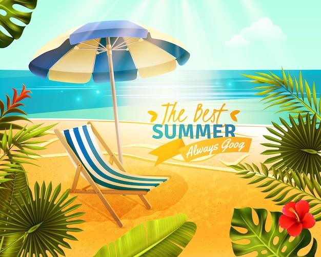 Tropical resort cartoon afbeelding Gratis Vector