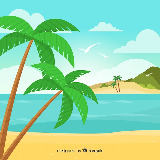 Tropisch achtergrond vectorstrandlandschap Gratis Vector