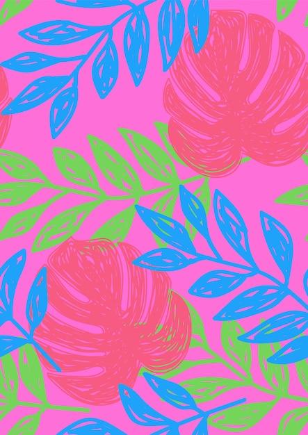 Tropisch blad bloemen naadloos patroon. Premium Vector