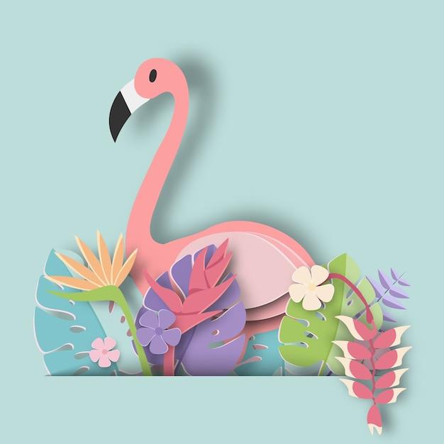 Tropisch blad en flamingo Premium Vector