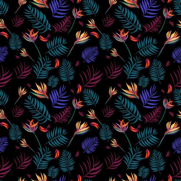 Tropisch bladeren naadloos patroon als achtergrond Premium Vector