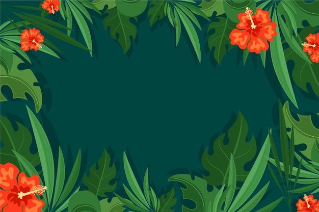 Tropisch bladerenbehang voor zoom Gratis Vector