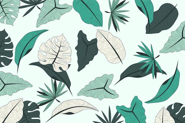 Tropisch bladerenontwerp met pastelkleurachtergrond Gratis Vector