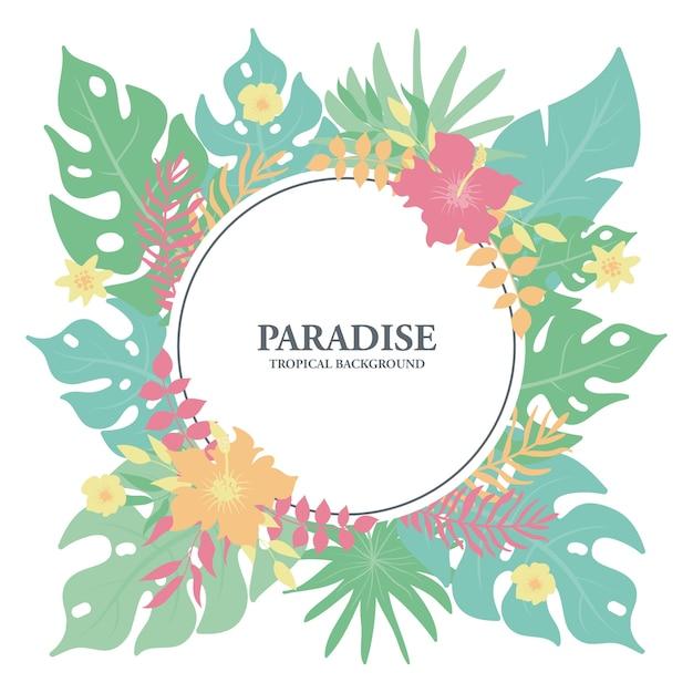 Tropisch bloemenkader, exotische tropische bladeren en bloemengrens Premium Vector