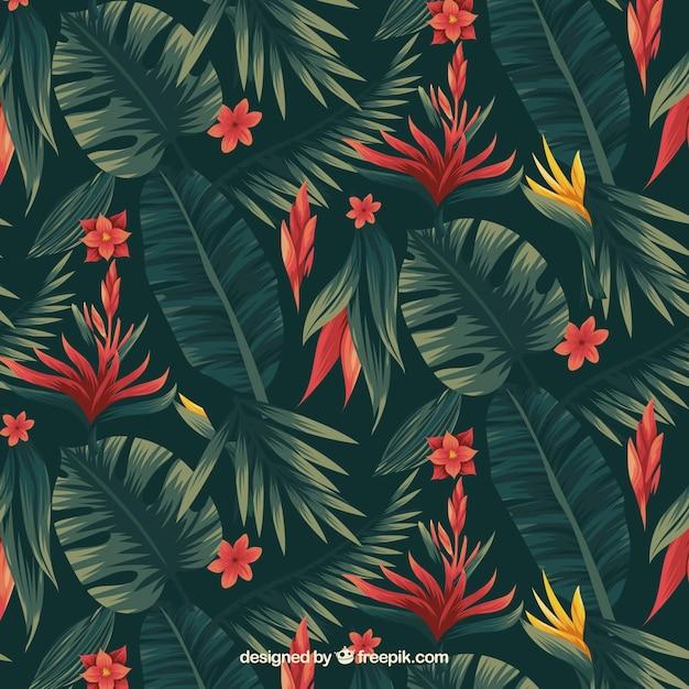 Tropisch bloemenpatroon Gratis Vector