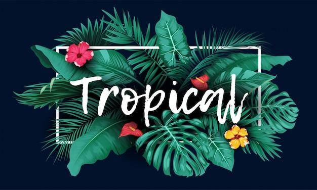 Tropisch bos met rechthoekkader op blauwe achtergrond Premium Vector