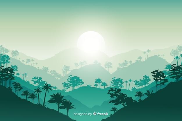 Tropisch boslandschap in plat ontwerp Gratis Vector