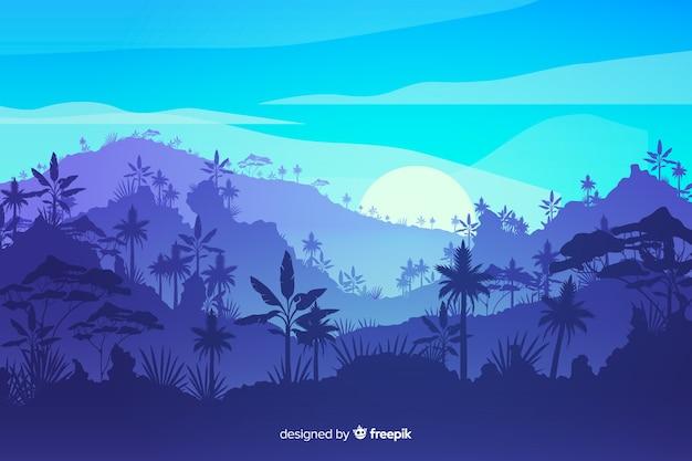 Tropisch boslandschap met bergen Gratis Vector