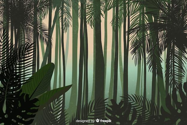 Tropisch boslandschap met lange bomen Gratis Vector