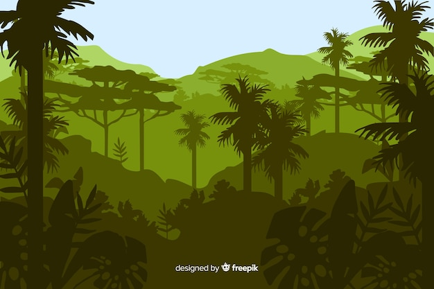 Tropisch boslandschap met veel palmbomen Gratis Vector