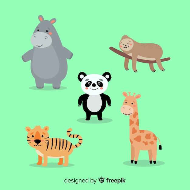 Tropisch dier collectie plat ontwerp Gratis Vector