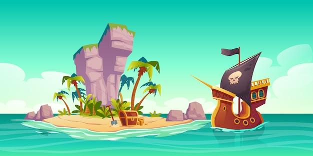 Tropisch eiland, schatkist en piratenschip Gratis Vector