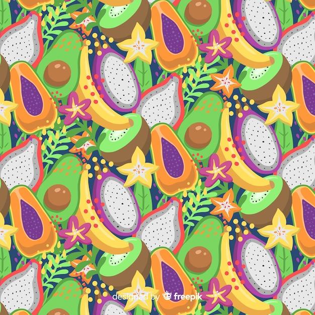 Tropisch fruitpatroon Gratis Vector