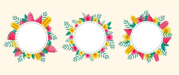 Tropisch hawaiiaans rond frame met exotische bloemen, fruit, ijs en palmbladeren. ronde frames. sjabloon ontwerp. s ingesteld. Premium Vector