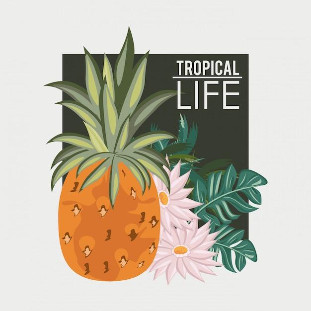 Tropisch leven en strand zomer kaart Premium Vector