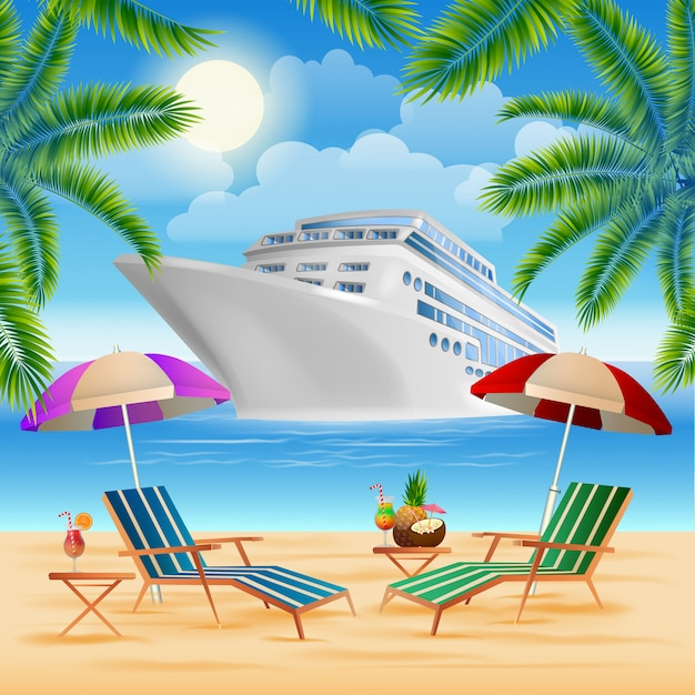 Tropisch paradijs. cruise schip Premium Vector