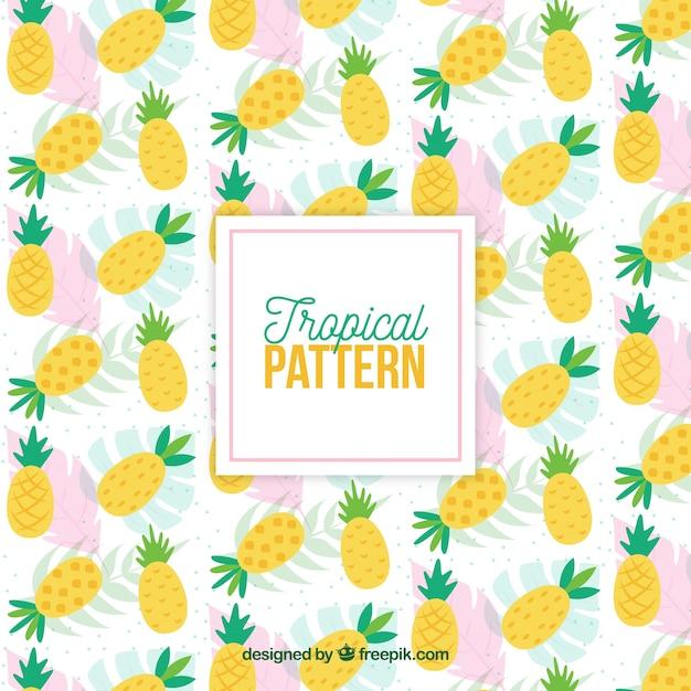 Tropisch patroon met ananas Gratis Vector