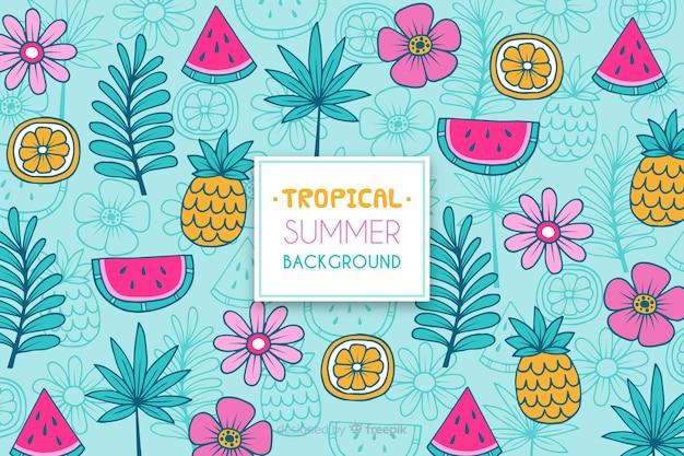 Tropisch patroon Gratis Vector