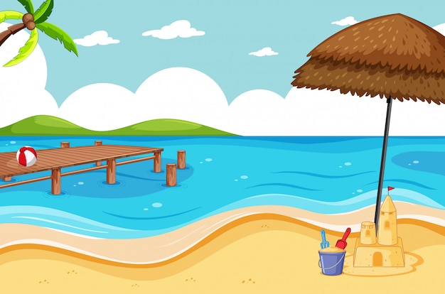 Tropisch strand en zandstrand scène cartoon stijl Gratis Vector