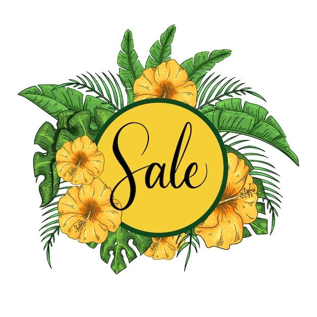 Tropisch verkoopkader met hibiscus en exotische palmbladenillustratie. Premium Vector