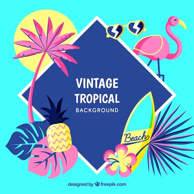 Tropische achtergrond in vintage stijl Gratis Vector