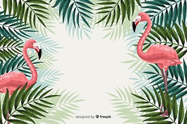 Tropische achtergrond met dieren Gratis Vector