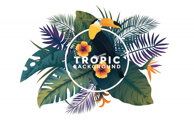 Tropische achtergrond met frame - vogel en planten Premium Vector