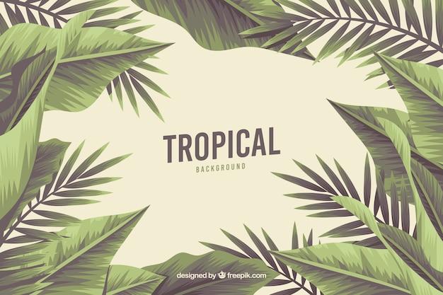 Tropische achtergrond met wilde aard Gratis Vector