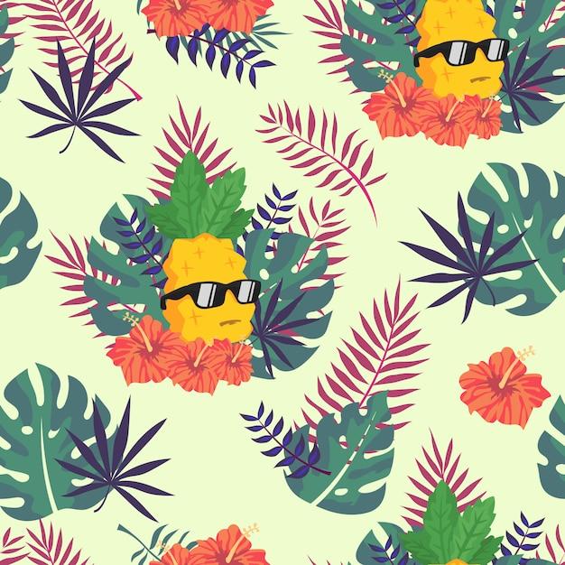 Tropische ananas naadloze patroon voor behang Premium Vector