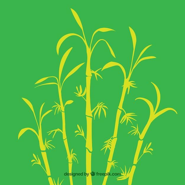 Tropische bamboe boom silhouetten Premium Vector