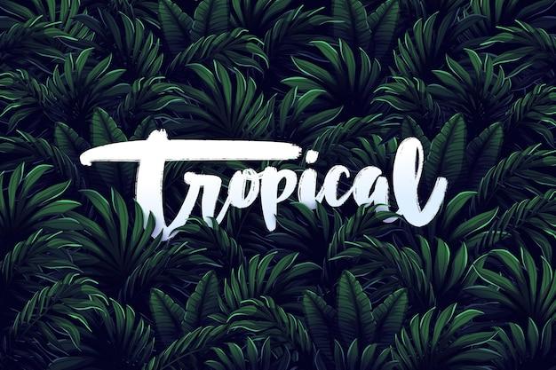 Tropische belettering op bladeren behang Gratis Vector