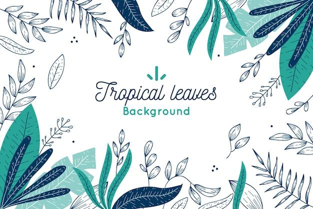 Tropische bladeren achtergrond concept Gratis Vector