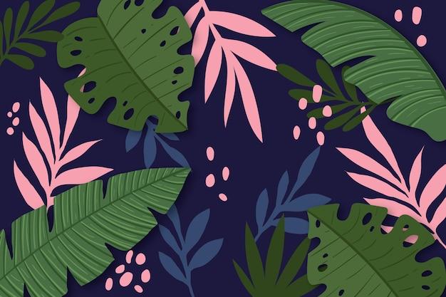 Tropische bladeren achtergrond voor zoom Gratis Vector