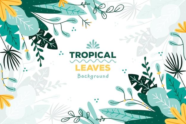 Tropische bladeren achtergrond Gratis Vector