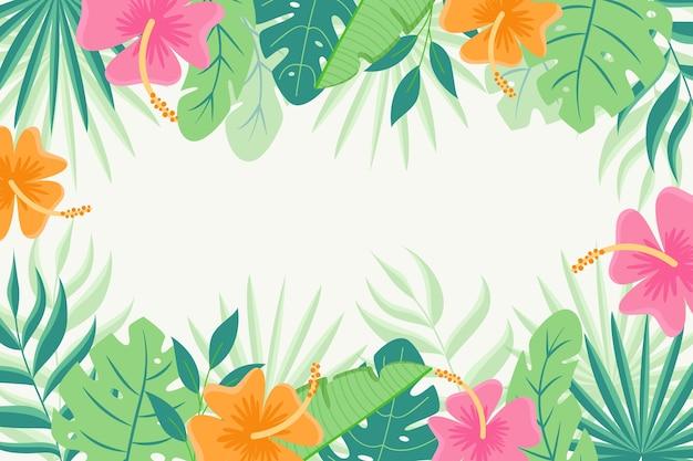 Tropische bladeren achtergrondontwerp Gratis Vector