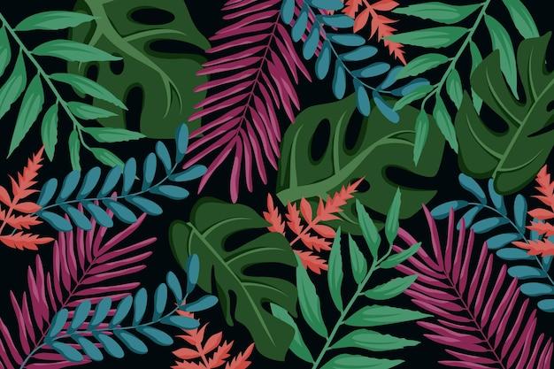 Tropische bladeren achtergrondstijl Gratis Vector