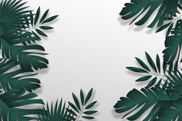 Tropische bladeren behang ontwerpen Gratis Vector