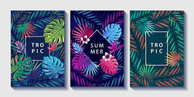 Tropische bladeren en bloemen design posters set. Premium Vector