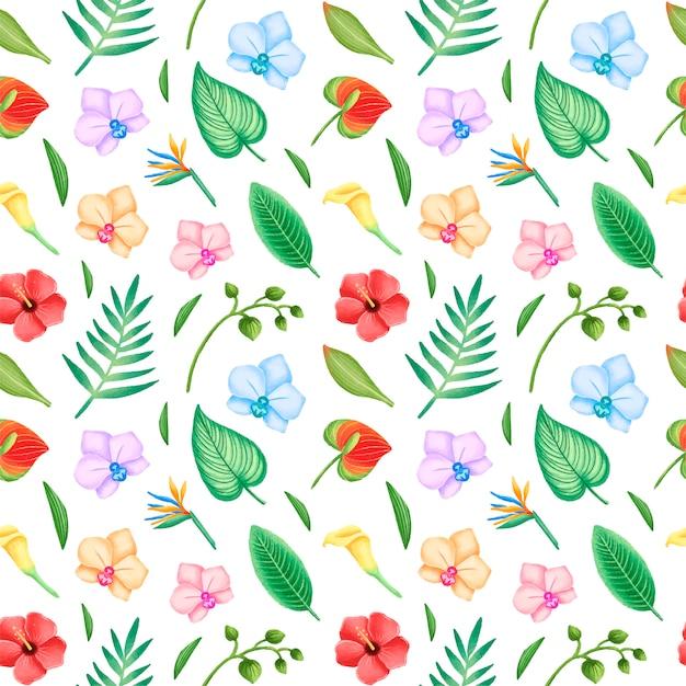 Tropische bladeren en bloemen naadloos patroon. hibiscus bloemen, orchidee en palmbladeren naadloos patroon. Premium Vector