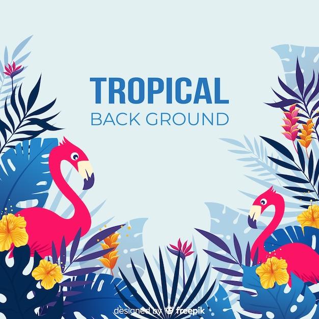 Tropische bladeren en exotische vogelsachtergrond Gratis Vector