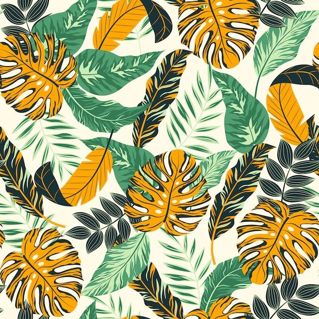Tropische bladeren en planten Premium Vector