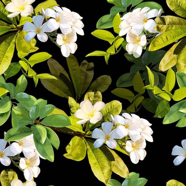 Tropische bladeren en plumeria bloemen naadloos patroon Premium Vector